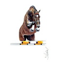 Haddington Green Equestrian Art Jan Kunster Horse Prints - Amaretto (Show Jumper)