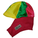 Equestrian Helmets Winter Helmet Cover Red with Green and Yellow