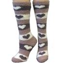 Intrepid International Fuzzy Comfy Heart Design Ladies Socks