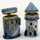 IWGAC 01-33281 Blue Porcelain Castle Trinket Boxes 2 Asst.