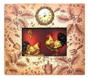 IWGAC 0160-06204 Ornate Rooster Plaque With Clock
