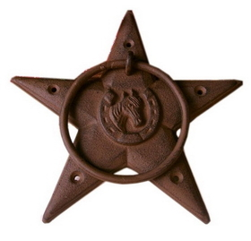 IWGAC 0170-11624-2 Large Heavy Rust Cast Iron Star Door KnockerTowel Ring Set of 2
