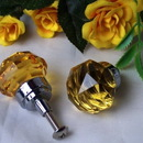 IWGAC 0170-HO35A SMALL Amber Solid Crystal Glass DrawerDoor Pull