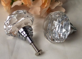 IWGAC 0170S-HO14C LARGE Clear Solid Crystal Glass DrawerDoor Pull