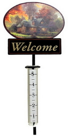 IWGAC 0193-636204 Thomas Kinkade Mountain Retreat Rain Gauge