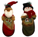 IWGAC 0197-182137 Fabric Burlap Stuffed Santa or Snowman Knick-Knack Holder Price Each
