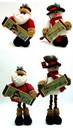 IWGAC 0197-182142 Fabric Burlap Stuffed Santa or Snowman with Expandable Legs