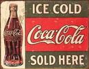 IWGAC 034-1299 Tin Sign - Coke - c. 1916 Ice Cold 16x12.5