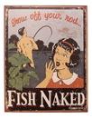 IWGAC 034-1488 Tin Sign Fish Naked/Rod