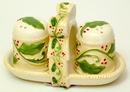 IWGAC 049-60039 Ceramic Elegant Holly Salt & Pepper with Rack 3pc Set