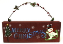 IWGAC 049-90369 Wooden Merry Christmas Wall Plaque with Lights