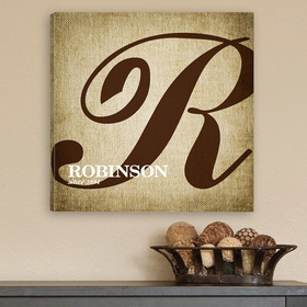 "JDS CA0002 14""X14"" Personalized Calligraphy Monogram Canvas Print - Family Initial"