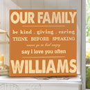 JDS CA0024 Rules of Our Family Personalized Canvas Print