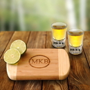 JDS GC1016 Personalized Bamboo Bar Board with 2 Shot Glasses