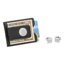 JDS GC1365 Black Leather Wallet and Cufflinks Gift Set