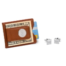 JDS GC1367 Personalized Brown Leather Wallet and Cufflinks Gift Set