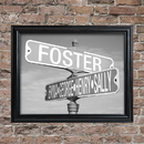 JDS GC1449 Personalized Black and White Street Sign Framed Print