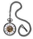 JDS GC1518 Gunmetal Gray Exposed Gears Pocket Watch