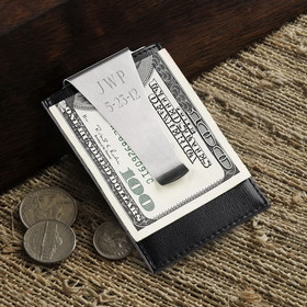 JDS Personalized Leather Money Clip/Credit Card Holder