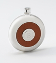 JDS Personalized Oxford Round Leather Flask w/Shot