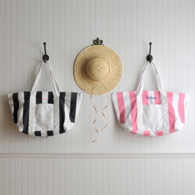 JDS Personalized Candy Striped Beach Tote Bag