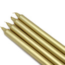 "Jeco CEZ-105 10"" Metallic Gold Straight Taper Candles (1 Dozen)"