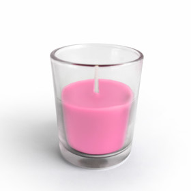Zest Candle CVZ-021 Hot Pink Round Glass Votive Candles (12pc/Box)