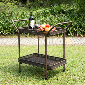 Wicker Lane ORI002-A Espresso Wicker Patio Serving Cart