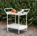 Jeco ORI002-B White Wicker Patio Serving Cart