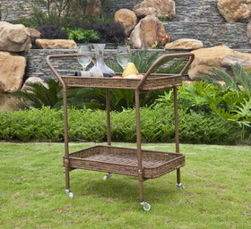 Wicker Lane ORI002-C Honey Wicker Patio Serving Cart
