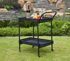 Wicker Lane ORI002-D Black Wicker Patio Serving Cart