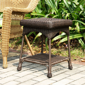 Wicker Lane OTI001-A Wicker Lane Outdoor Espresso Wicker Patio Furniture End Table