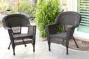 Jeco W00201_2 Espresso Wicker Chair - Set of 2
