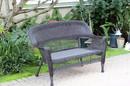 Jeco W00202-LE Espresso Wicker Patio Love Seat