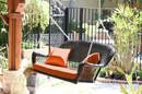 Jeco W00202S-A-FS016 Espresso Wicker Porch Swing with Orange Cushion