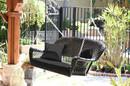 Jeco W00202S-A-FS017 Espresso Wicker Porch Swing with Black Cushion