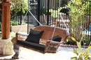 Jeco W00205S-C-FS017 Honey Wicker Porch Swing with Black Cushion