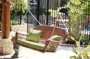 Jeco W00205S-C-FS029 Honey Wicker Porch Swing with Green Cushion