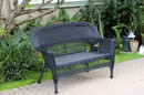 Jeco W00207-L Black Wicker Patio Love Seat