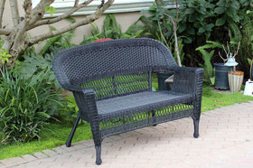 Wicker Lane W00207-L Black Wicker Patio Love Seat