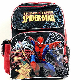 Marvel Spider Sense Spider-Man Backpack Black Red Kids School Bag - two front pocket