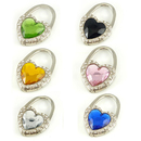 GOGO 6 Pcs Hand Bag Hook Crystal Heart Diamonds Purse Hooks, Mixed Colors