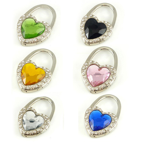 GOGO Hand Bag Purse Hook, Crystal Heart Surrounded By Diamonds, Assorted Colors, Price/6 Pcs