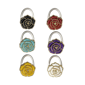 GOGO Foldable Hand Bag Purse Hook Hanger, Rose Shaped, Assorted Colors, Price/6 Pcs