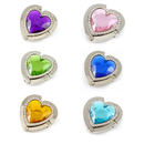 GOGO Hand Bag Purse Hook Hanger, 6 Pcs Assorted Colors Crystal Hearts