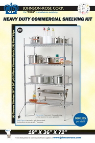 Johnson-Rose 11402 Chrome Heavy Duty Commercial Wire Shelving Kit, 612941114021, Price/EA