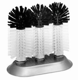 Glass Brush, Triple, Nylon Bristles, Large Suction Cup Base, Price/EA