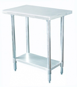 "Johnson-Rose 83018 Work Table, 430 Stainless Steel (#4 Finish), 30 X 18"", Galvanized Undershelf, Legs And Leg Socket. 18 Gauge Top. Plastic Adjustable Bullet Feet, 612941830181, Price/EA"