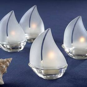 "Kate Aspen ""Set Sail"" Frosted Glass Sailboat Tealight Holders, Set of 4"