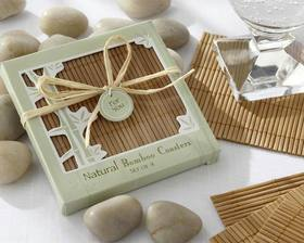 Kate Aspen Natural Bamboo Eco-Friendly Coaster Favors (Four Coasters per Favor!)